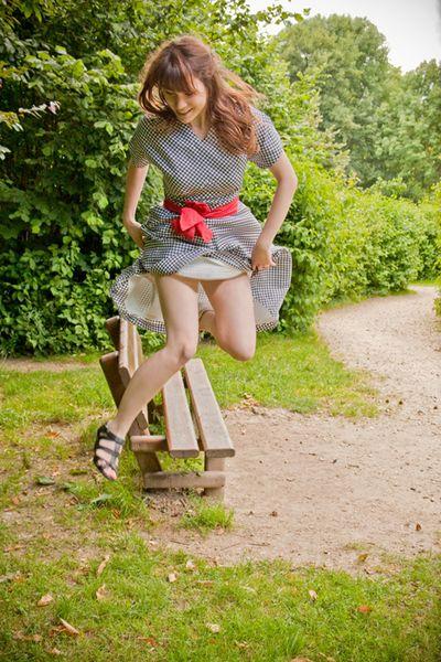 Iseline robe pied de poule ceinture rouge_web